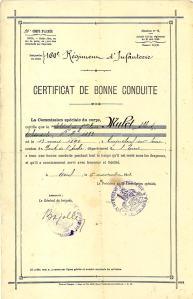 Certificat de bonne conduite d'Albert MULOT - 160e R.I.